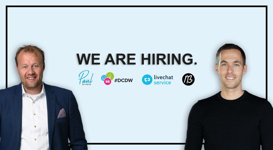 LiveChat Service (Nick Blom) en de DCDW (Paul de Vries) zoeken een commerciële videomaker die voor beide bedrijven visuele content creëert.
